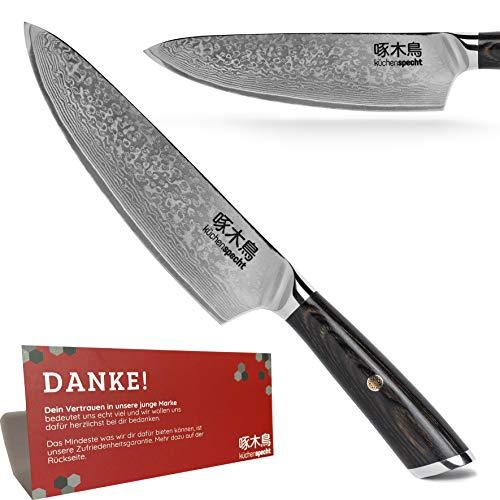 küchenspecht © | Damastmesser mit lebenslanger Garantie | Japanisches Messer aus 67 Lagen Damast Stahl | 20cm Klinge | Küchenmesser inkl. edler Holzbox