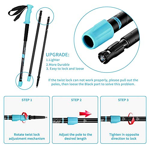 FitTrek Trekking Poles - Carbon Fibre Walking Poles - Hiking poles Telescopic - Lightweight Nordic Walking Pole for Women, Men and Kids with Walking Poles Rubber Tips and Pole Bag, 2 Pair