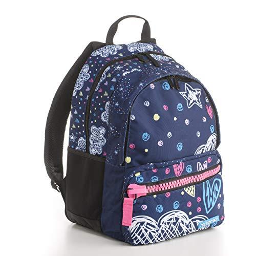 Zaino Mitama Unlimited Romantic Blue - blu, 30 LT, Triplo scomparto, megazip, scuola elementare e medie