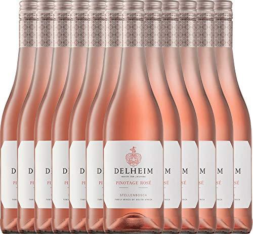 VINELLO 12er Weinpaket Rosé - Pinotage Rosé 2020 - Delheim mit Weinausgießer | trockener Roséwein | südafrikanischer Sommerwein aus Coastal Region | 12 x 0,75 Liter