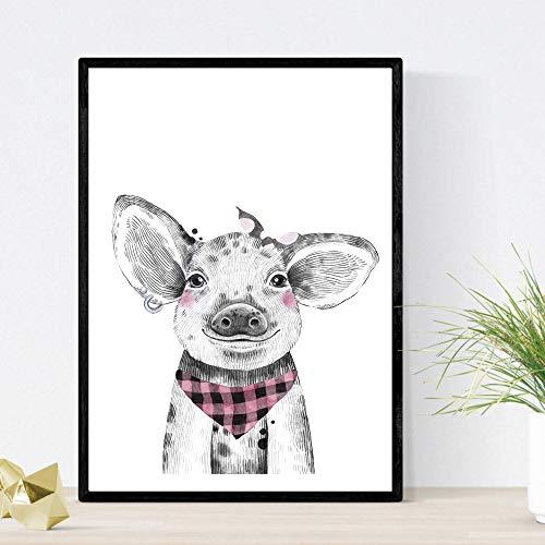 Print varkensvlees met hoofddoek kind en baby dieren zakdoek poster formaat A3 Frameloos