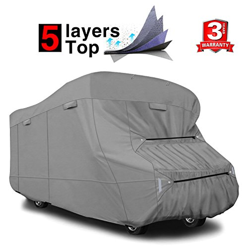 RVMasking Heavy Duty 5 Layers Travel Trailer RV Cover, Fits 31'7' - 34' RVs - Breathable Waterproof Anti-UV Ripstop Camper Cover With 15 PCS Windproof Buckles & Adhesive Repair Patch (25.4'&59')