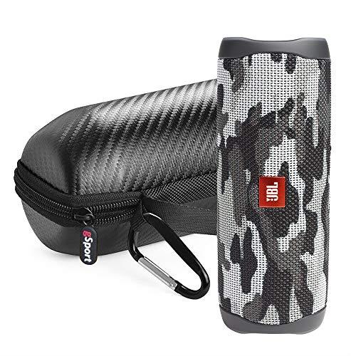 JBL FLIP 5 Portable Speaker IPX7 Waterproof Bundle with gSport Limited Edition Carbon Fiber Case (Black Camo)