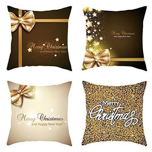 Higlles 4PC Frohe Weihnachten Golden Letters Print Romantische Weihnachten Kissenbezug Holiday Party Dekoration Kissenbezug Taille Kissen 45x45cm
