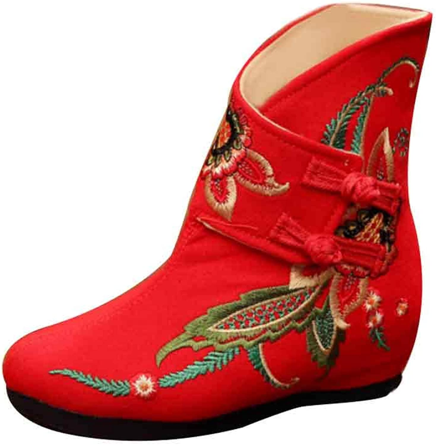 Inlefen Ladies Embroidered Boot Flatform Buckle Strap Wedge Boot with Cotton