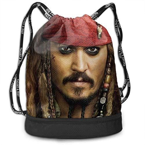 Hdadwy Pirates of Caribbean Drawstring Bags Mochila multifunción de Gran Capacidad, Ligera, Simple, portátil, Divertida, para Mujeres, niños, Escuela, Gimnasio, Viajes (poliéster)