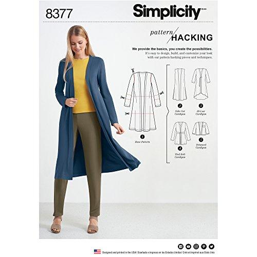 Simplicity US8377A Schnittmuster 8377 Damen Strickcardigan mit Variationen und Mehreren Teilen für Design Hacking, Papier, weiß, 22 x 15 x 1 cm
