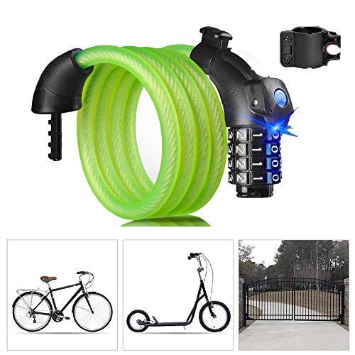 Candado Bici con Código de 4 Dígitos Candado Bicicleta Alta Seguridad con...