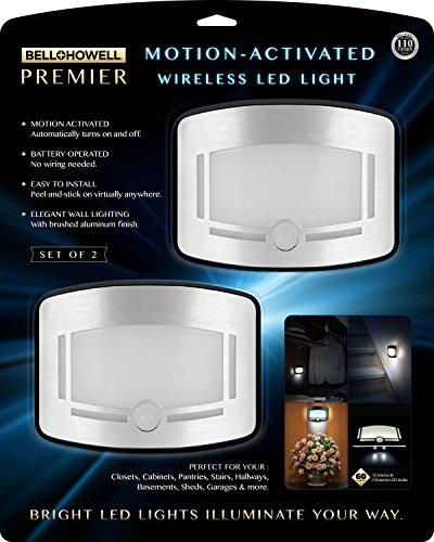 Bell + Howell 2090 Premier - Juego de 2 luces LED inalámbricas activadas por movimiento (acero inoxidable)