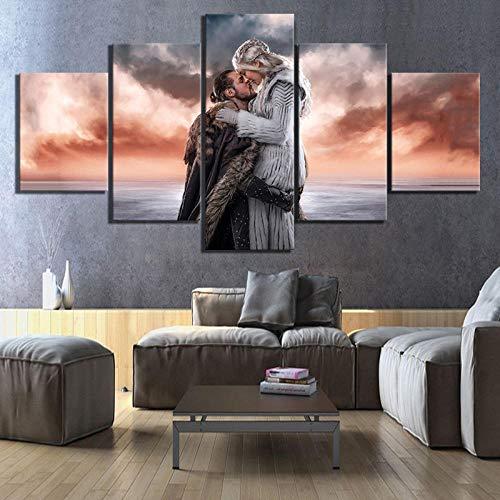 Cuadro En Lienzo 5 Partes HD Impreso Mural para La Moderno Decoración del Hogar Jon Snow Y Khalessi Love Cosplay(Enmarcado)