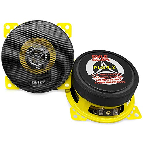 """Car Two Way Speaker System - Pro 4 Inch 140 Watt 4 Ohm Mid Tweeter Component Audio Sound Coaxial Speakers For Car Stereo w/ 20 Oz Magnet, 1.85"""" Mount Depth Fits Standard OEM - Pyle PLG4.2 (Pair)"""