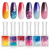 Gel Nail Polish Holiday Mood Temperature Color Changing Gel Polish Soak Off Hot and Cold Ombre Nail Polish with Beauty Gift Set 6 Pcs Colors 10 ML by Modelones
