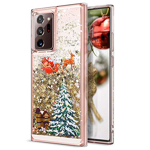CinoCase Galaxy Note 20 Ultra Case 3D Liquid Case [Christmas Collection] Flowing Moving Stars Bling Glitter Snowflake Christmas Tree Santa Pattern Hard Case for Galaxy Note 20 Ultra 6.9 inch Gold