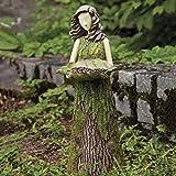 Gartendeko Figuren für Außen Groß Vogelhaus Groß mit Ständer Deko Garten, Feenstatue, Farnfeenstatue mit Vogelhäuschen, Gartenverzierung im Freien