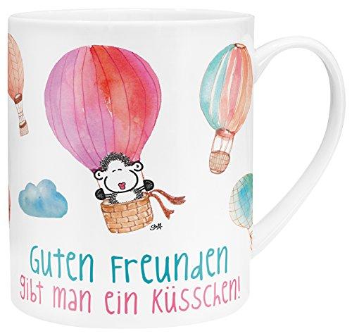 Sheepworld 45396 XL-Tasse mit Motivdruck Guten Freunden gibt man ein Küsschen, Porzellan, in Geschenk-Verpackung, 60 cl