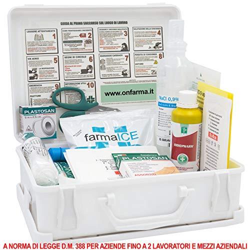 FARMA 1 BIANCA Cassetta pronto soccorso primo soccorso conforme DM 388 allegato 2 per aziende fino a 2 lavoratori completa di cartello primo soccorso