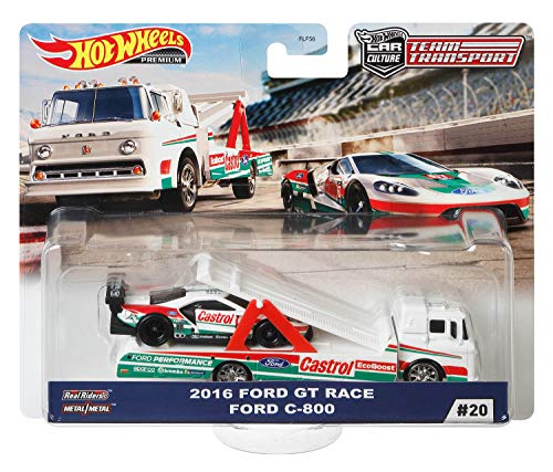 Hot Wheels Premium Car Team Transport - Car Culture (#20 - 2016 Ford GT Race + Ford C-800)