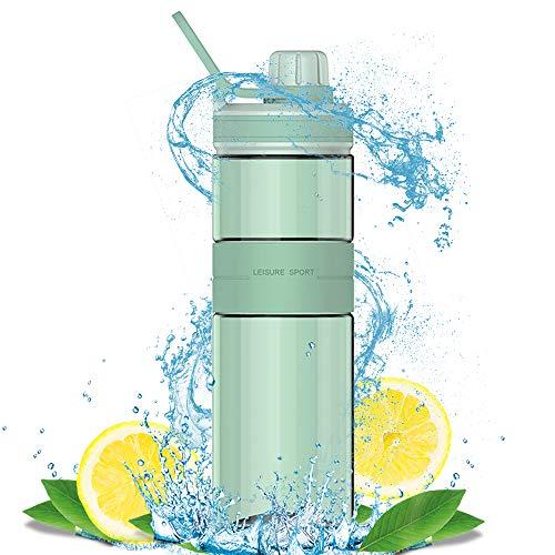 Zeewoo Just Life Botella de Agua Sin Fugas BPA Gratis para Exterior/Deporte/Escuela/Gimnasio y Gimnasio 500ml, Verde