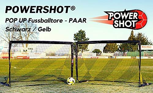 POWERSHOT Fußballtor Pop up - 2 Größen und 3 Farben zur Auswahl - 2er Set - faltbares Garten Fußballtor für Kinder (Schwarz/Gelb, 180 x 120cm)