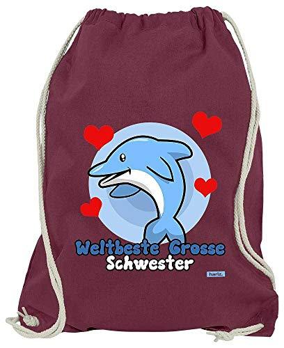 HARIZ Turnbeutel Weltbeste Grosse Schwester Delphin Geburtstag Schwanger Plus Geschenkkarten Wein Rot One Size