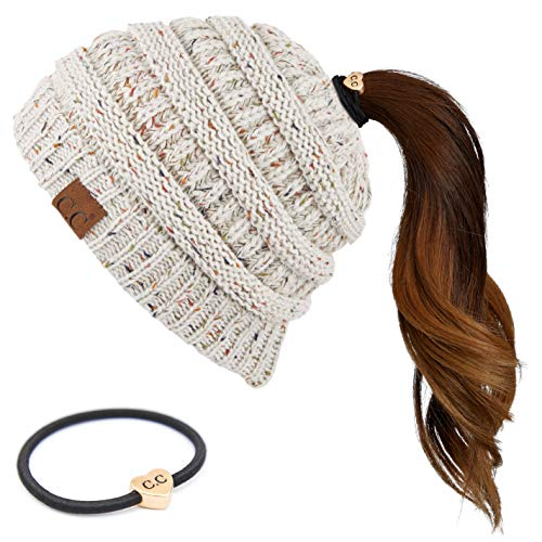 Hatsandscarf C.C Exclusives Ribbed Confetti Knit Beanie Tail Hat for Adult Bundle with C.C Hair Tie (MB-33-R) (Oatmeal-R)