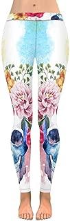 INTERESTPRINT Women's Stretchy Yoga Pants Vintage Flowers and Human Skull Full Length Active Leggings