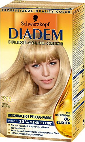 Schwarzkopf Diadem Pflege Color Creme/ 711 Hellblond/ Haarfarbe/ Dauerhafte Coloration/ Stufe 3