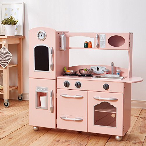 Teamson Kids Pink Wooden Toy Kitchen with Fridge Freezer and Oven TD-11414P