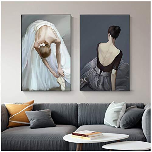 Zwarte Strakke Rok Wit Ballet Jurk Meisje Abstract Poster Print Moderne Muurfoto voor Woonkamer Nordic Mooie Vrouwen Schilderen -60x80cm Geen Frame