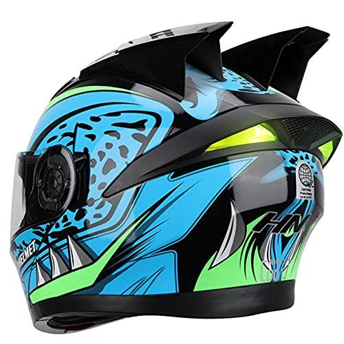 Casco de Moto Modular Bluetooth Integrado cara completa Motocross Dirt Bike Off-Road ATV Casco de motocross para Adultos Hombres Mujeres Cascos Moto DOT/ECE,C,XXL