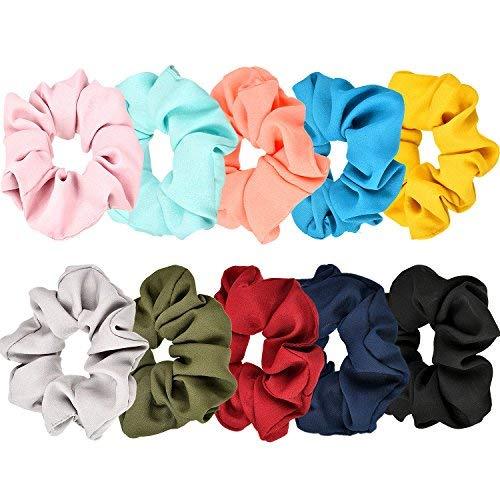 Lvcky 10 pièces Poils scrunchies Poils Boules scrunchies Fleur Gaze Cheveux Ruban élastique attachés Support pour Femmes et Filles, 10 Couleurs