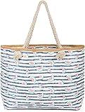 styleBREAKER Damen XXL Strandtasche mit Streifen und Melone Früchte Print, Reißverschluss, Schultertasche, Shopper 02012287, Farbe:Dunkelblau-Weiß