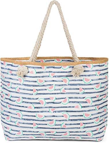 styleBREAKER Bolso para la Playa XXL de Mujer con Estampado de Rayas y Estampado frutal de sandías, Cremallera, Bolso de Hombro, Bolso para Compras 02012287, Color:Azul Oscuro-Blanco
