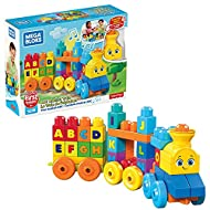  Easy-to-build, musical train for learning the alphabet  Press the smokestack for real train sounds and music  50-piece playset includes 3 rolling wheelbases, building blocks and special train shapes  Blocks come printed with all the letters A t...