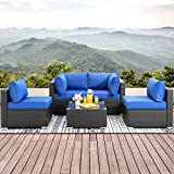 Walsunny 5pcs Patio Outdoor Furniture Sets,Low Back All-Weather Rattan Sectional Sofa with Tea Table&Washable Couch Cushions (Black Rattan) (Deep Blue)