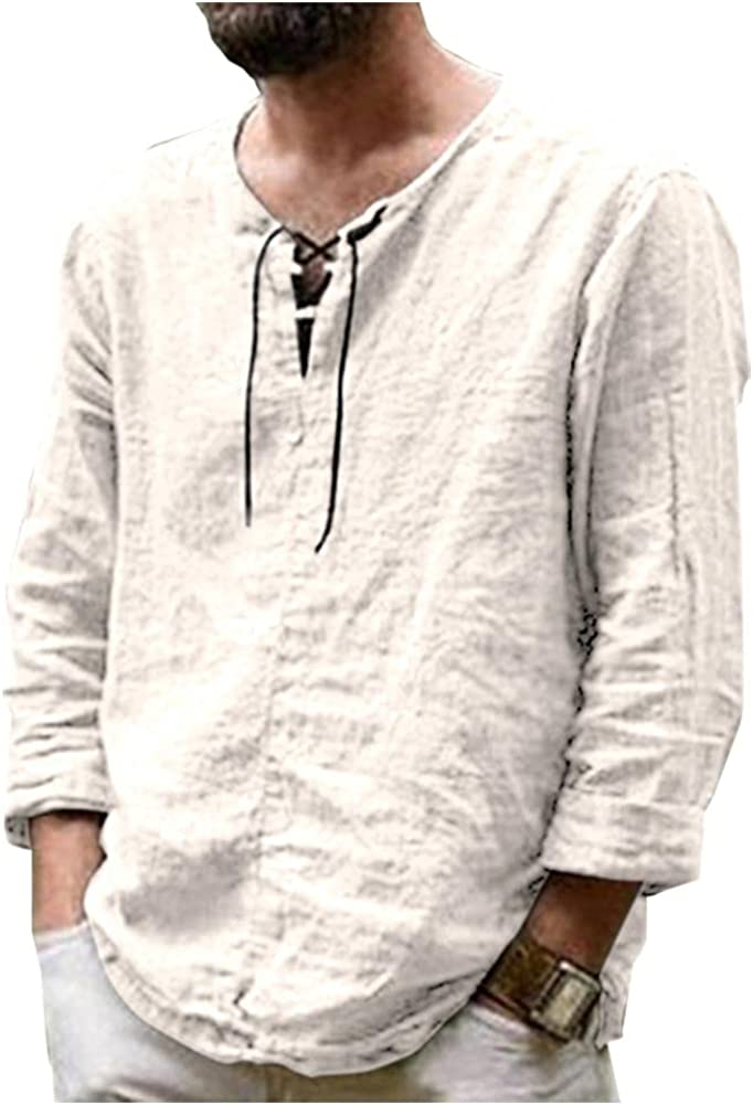 Cyparel Cheap mail order specialty store Max 59% OFF Men's Cotton Linen Henley Loose Long Shirt Casual Sleeve