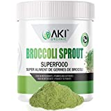 Aki Organic Broccoli Sprout Powder Sulforaphane Ideal For Your Greens Veggie Smoothie Or As A Supplements Of Sprouts From Non Gmo Brocolli Seeds Pack Of Vitamins & Antioxidant (5.29oz / 150g)