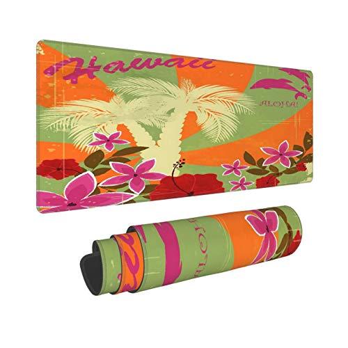 Extra Groß Mauspad mit Genähten Kanten,XXL-90 x 40 x 0.3cm,Vintage hawaiianische Postkarte - Einladung zur Strandparty,Schreibtisch Mat Personalisiert für Die Arbeit Spiel Büro Computer Laptop