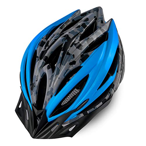 MOKFIRE Adult Bike Helmet for Men Women with Removable Visor & Rear Light CPSC Certified Bicycle Cycling Helmet Adjustable Lightweight Mountain Road Helmets,Black Grey Blue Matte