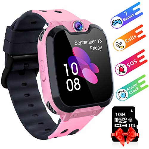 Kids Game Smartwatch Watch Phone, 1.54 HD Touch Screen Smart Watch Phone with Music Player Camera Alarm Clock 7 Puzzle Games Recorder Silent Mode for Boys and Girls (Pink)