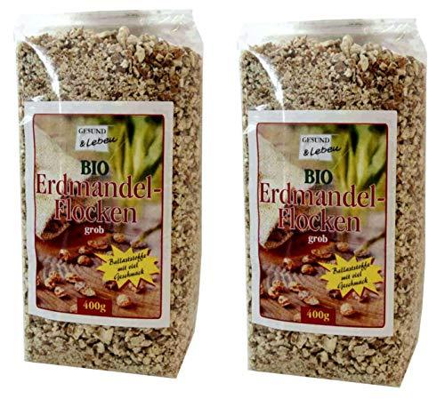 Gesund & Leben BIO-Erdmandel-Flocken, grob, 2 Pack à 400 g = 800 g