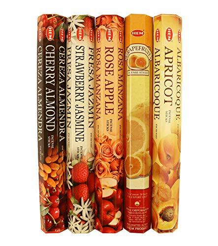 HEM Variety Pack of 5 Incense Stick Fragrances for Meditation & Relaxation   100 Hand-Rolled Incense Sticks (Fruit Mix - 100 Sticks)