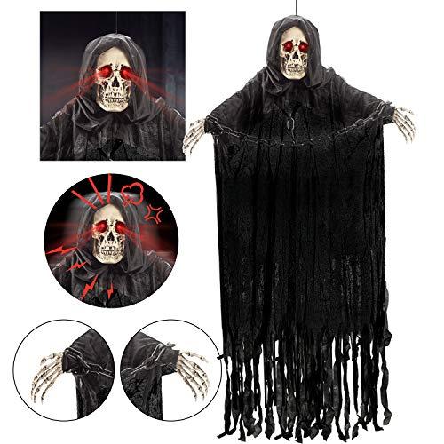 152 cm Parca Colgante Animada con Cadena y Sonido Espeluznante, Decoraciones de Fantasmas de Esqueleto de Halloween para Casa Embrujada, Exteriores /Interiores ⭐