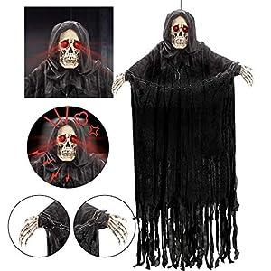152 cm Parca Colgante Animada con Cadena y Sonido Espeluznante, Decoraciones de Fantasmas de Esqueleto de Halloween para Casa Embrujada, Exteriores /Interiores