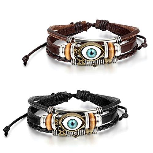 JewelryWe Schmuck 2PCS Herren Armband, mit Engelsaugen Design Armreif 20.5-27.5cm Verstellbaren Größen, Leder Legierung, Schwarz Braun