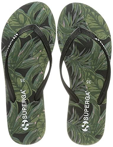 SUPERGA 4121-FANRBRW, Scarpe da Spiaggia e Piscina Donna, Multicolore (Palms-Black A0A), 35 EU