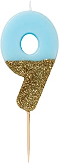 Talking Tables We Heart Birthday Glitter Number 9 Candle, Blue