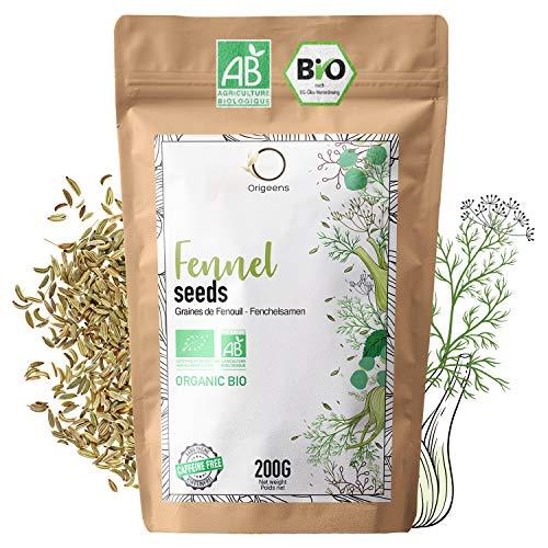 ORIGEENS BIO FENCHELTEE 200g | Kräutertee für Stillen, Laktation und Verdauung | Fenchelsamen Bio für losen Tee | In Deutschland zertifiziert und verpackt