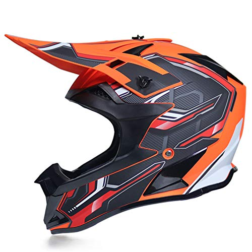 KAAM Casco de motocross para hombre con gafas de protección, guantes, unisex, para todas las estaciones, DH, Enduro, quad, ATV-MTB-BMX, protección completa, color naranja, XL