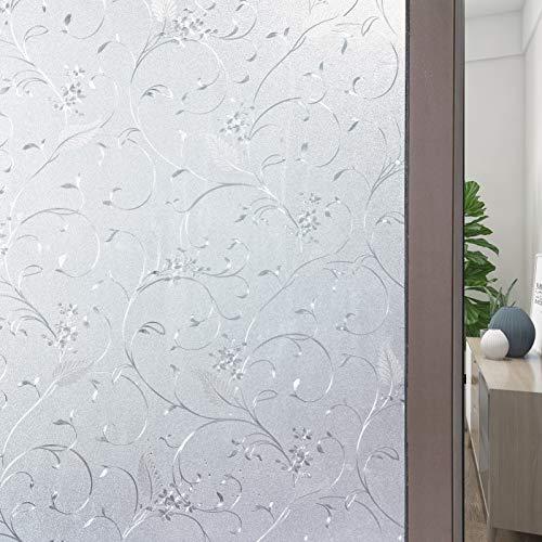 FEOMOS Blumen Gefrostete Fensterfolie Dekor Fensterfolie Statische Milchglasfolie für Fenster Selbstklebend 60cm x 200cm